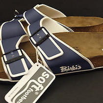 Birkenstock Birki's Sandals Nwt Men's Blue Soft Footbed Size Us 13 Eur 46 Photo