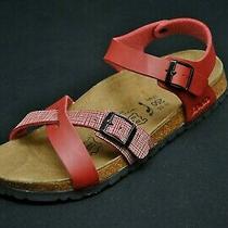 Birkenstock Birki's Strappy Sandals 39 L 8 M 6 Red Leather New Nwob Photo