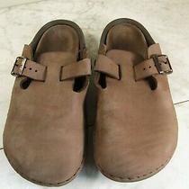 Birkenstock Brown Leather Buckle Strap Classic Clog Shoes Women's Size 7 Men's 5 Photo
