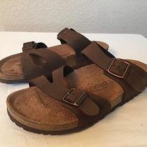 Birkenstock Brown Nubuck Leather Womens Slide Sandals Size 38/7 M Photo