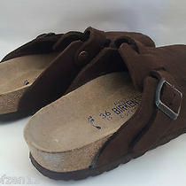 Birkenstock Clog Boston Brown Suede Leather Size 5 36 Slip on Mules Gently Worn Photo