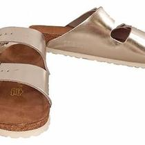 Birkenstock for J.crew Arizona Metallic Leather Sandals in Silver Size 41 130 Photo