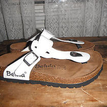 Birkenstock Gizeh Sandals Eu 38 Us 7 Lacquered White Photo