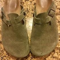 Birkenstock Green Leather Suede Slip on Clog Cork Distressed 40 Eu. w9.5 m7.5 Photo