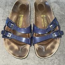 Birkenstock Ibiza Blue Patent Leather Sandals Size 38 Us L 7 Photo