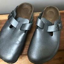Birkenstock Leather Clogs Sandals Women's Mules Dark Silver Gray 6 Eu 240 Photo