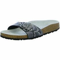 Birkenstock Madrid Slides Narrow Python Black Microfibre Snake Shoes Sandals Sli Photo
