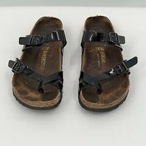 Birkenstock Mayari Black Strap Patent Sandals Womens 38 (Us 7-7.5) Photo