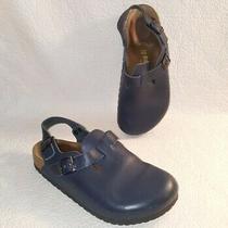 Birkenstock Navy Blue Leather Mule Sandal Clogs Ankle Strap Shoes Sz 38/7  Wide Photo