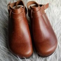 Birkenstock Papillio Esra Wedge Clogs Slingback Size 37 Cognac Brown Narrow Photo