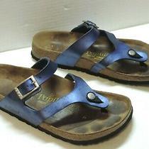 Birkenstock Papillio Fussbett Gizeh Blue Lara Metallic Cielo Sandals Eu 39  Photo
