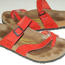 Birkenstock Papillio Red Micro Suede Toe Loop Sandals Unisex 41 L 10 M 8 Photo