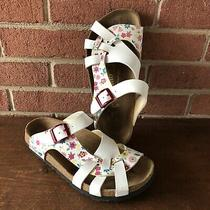 Birkenstock Papillio Womens Size 38 Us 8 White Floral Sandals Strap Slip On Photo
