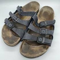 Birkenstock Sandals 38 L7 M5 Unisex Black Nubuck Florida 3-Strap Made Germany Photo