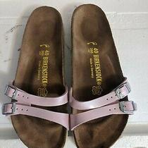 Birkenstock Sandals Size 40/9 Narrow Two Strap Slip on Pink Patent Excellent Photo