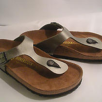 Birkenstock Silver Pewter Thong Sandals 38 Us Ladies 7 Comfort Walking Shoes Photo