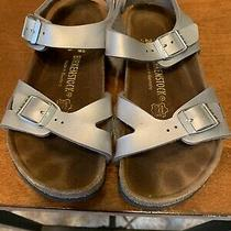 Birkenstock Silver Strapped Sandals Youth Size 31 Heel Strap With Buckle Closure Photo