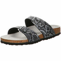 Birkenstock Sydney Slides Narrow Python Black Microfibre Animal Shoes Sandals Sl Photo