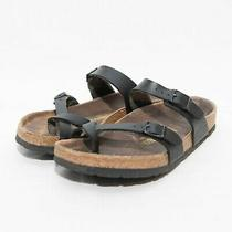 Birkenstock Women's Black Mayari Oiled Leather Two Strap Sandals Size 38 Photo