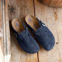 Birkenstock Womens Boston Clog Mules Night Navy Blue Size 8.5 Soft Sole Photo