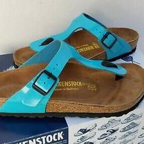 Birkenstock Womens Gizeh Thong Blue Metallic Teal Leather Sandals Germany 39 L Photo