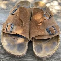 Birkenstock Womens Suede Slides Size 41 (Usa 10) Brown Buckles Sandals Photo