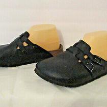 Birki's Birkenstock Camden Double Strap Black Leather Clogs Mules 38 Eu 7-7.5 Us Photo