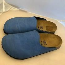 Birki's by Birkenstock 260 Clogs Mules Womens 9 N Narrow 40 Eu Blue Leather  Photo