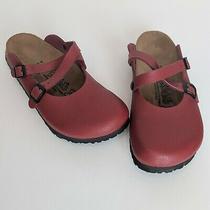 Birki's by Birkenstock Dorian Clogs L9 M7 Eu 40 Shoes Mules 2 Cross Strap Red Photo