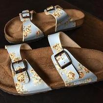 Birki's by Birkenstock Light Blue Floral Leather Sandals 10 Women's Shoes Photo