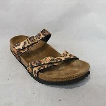 Birki's Orange Leopard Print Beaded Sparkly Slide Sandals Sz 39 Eu / Men 6 Wmn 8 Photo