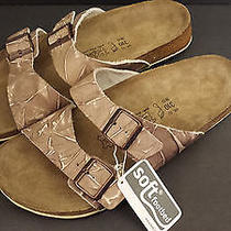Birki's Skorpios Graffito Brown Leather Birkenstock Sandal Soft Footbed 45 12 Photo