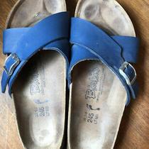Birkis Santosa Birkenstock Blue Birko Flor Sandals 38 7 Narrow Womens Cris Cross Photo