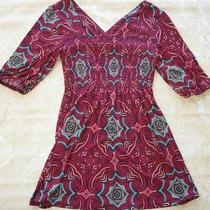 Bisou Bisou Red Black Aqua Half Sleeve Empire Waist Geometric Tunic Top Blouse M Photo