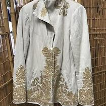 Biya Blazer Jacket Size S Silk Embroidered Collector Coat Pockets Snap Quotation Photo