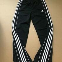 Black Adidas Jogger Track Athletic Sweat Pants L Large 14/16 White 3-Stripe Photo