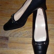 Black Ak Anne Klein Square Toe Fancy Buckle Leather Heels Size 7.5m Euc Photo