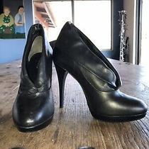Black Aldo Leather Shoes Heels Womens Size 40 Usa 9 New Photo