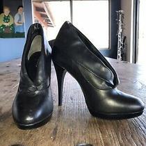 Black Aldo Leather Shoes Heels Womens Size 40 Usa 9 New Photo