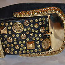 Black and Gold Rhinestone Michael Morrison Mx Los Angeles Leather Belt- 3