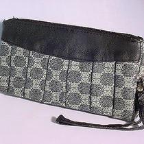 Black and Gray Wristlet Purse Crossbody Pockets Leather Zippers Black 9763 Photo