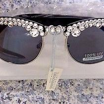 Black and Silvertone Sunglasses Crystal Iced Sunnies Swarovski Elements Photo
