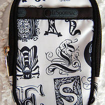 Black and White Lesportsac Womens Cell Phone Pouch Mini Carrying Case  Photo