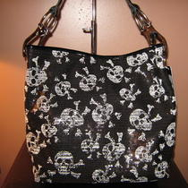 Black and White Skull Design Sequined Hobo Handbag  Photo