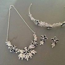 Black and White Swarovski Necklace Headband & Earrings Wedding Set Photo