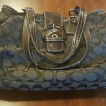 Black Authentic Coach Handbag Black Leather and Fabric  Photo