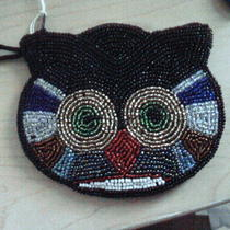 Black Beaded Fancy Cat Clutch With Satin Lining  Photo