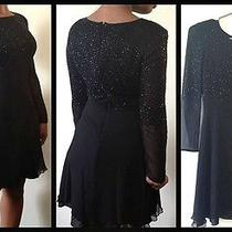 Black Beaded Silk Vintage Skater Dress by Bieff Basix Photo