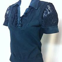 Black Bebe Womens Ladies Sweater Button Down Shirt Satin Collar Lace Shirt Sz S Photo