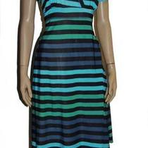 Black Blue Aqua Green Stripe Womens Size Large 10/12 Empire a-Line Dress Photo